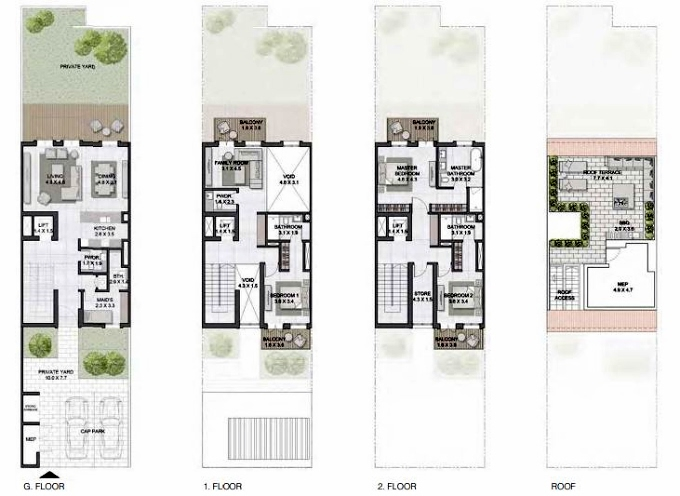Planning of the apartment Townhouses 3BR, 3705 in Sur La Mer, Dubai