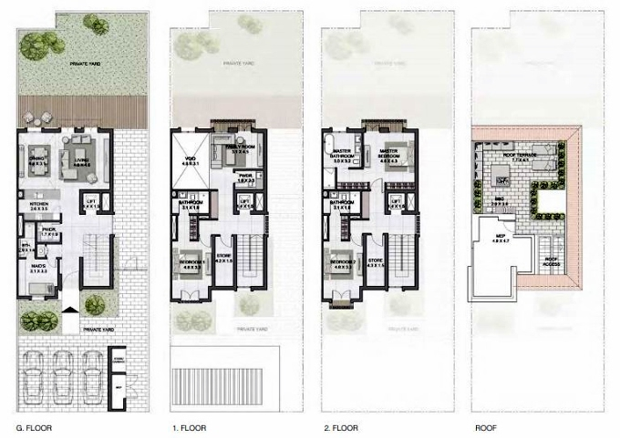 Planning of the apartment Townhouses 3BR, 3744 in Sur La Mer, Dubai