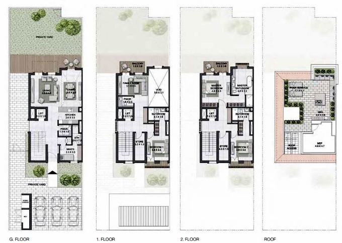 Planning of the apartment Townhouses 3BR, 3859 in Sur La Mer, Dubai