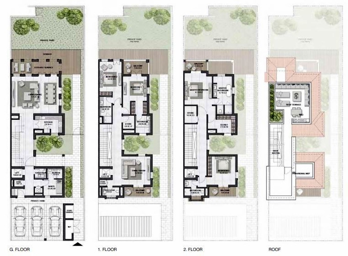 Planning of the apartment Townhouses 4BR, 4794 in Sur La Mer, Dubai