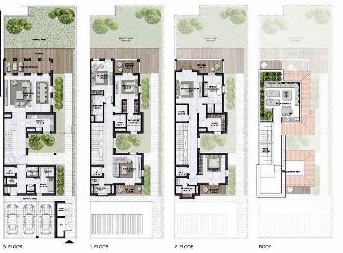 Planning of the apartment Townhouses 4BR, 4885 in Sur La Mer, Dubai