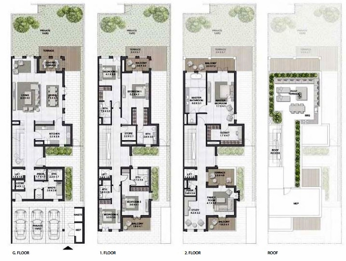 Planning of the apartment Townhouses 5BR, 6824 in Sur La Mer, Dubai
