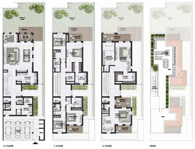 Planning of the apartment Townhouses 5BR, 6821 in Sur La Mer, Dubai