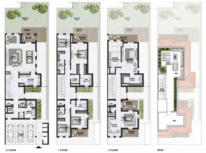 Planning of the apartment Townhouses 5BR, 6823 in Sur La Mer, Dubai