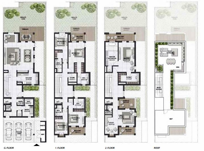 Planning of the apartment Townhouses 5BR, 6849 in Sur La Mer, Dubai