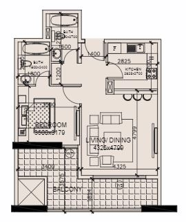 Planning of the apartment 1BR, 852 in Marwa Heights, Dubai