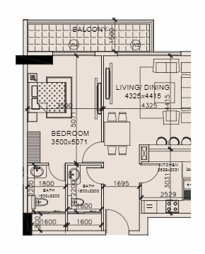 Planning of the apartment 1BR, 825.2 in Marwa Heights, Dubai