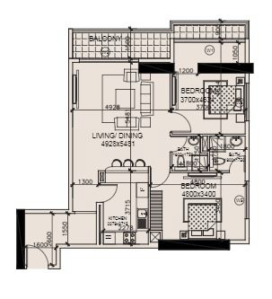 Planning of the apartment 2BR, 1155.7 in Marwa Heights, Dubai