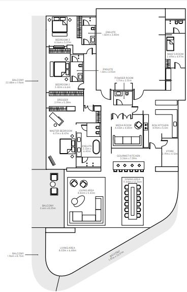 Planning of the apartment 3BR, 7373 in The Alef Residences, Dubai