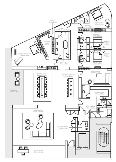 Planning of the apartment 4BR, 10937 in The Alef Residences, Dubai