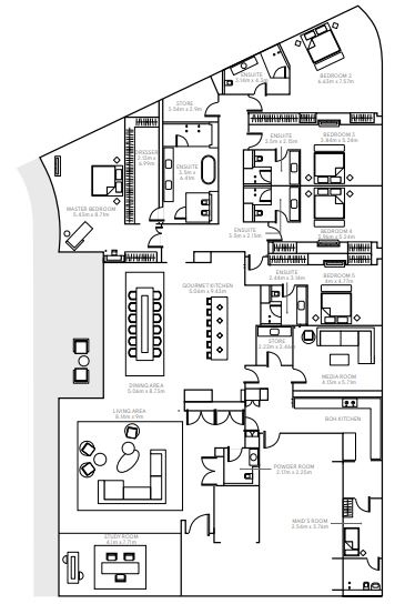 Planning of the apartment 5BR, 7633 in The Alef Residences, Dubai