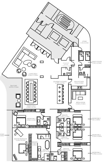 Planning of the apartment 5BR, 7419 in The Alef Residences, Dubai