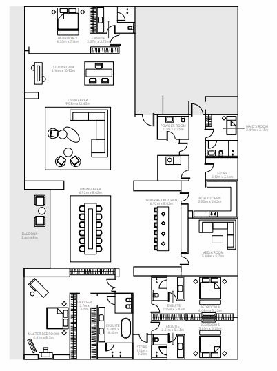 Planning of the apartment 4BR, 12976 in The Alef Residences, Dubai