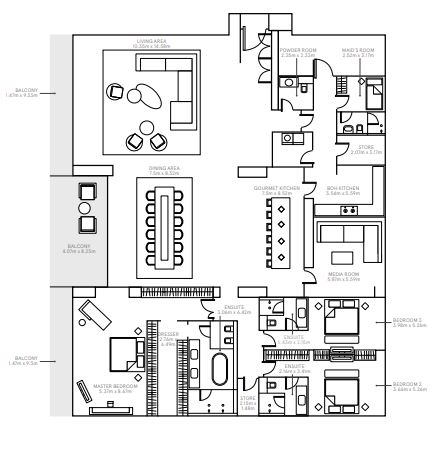 Planning of the apartment 3BR, 7092 in The Alef Residences, Dubai