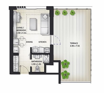 Planning of the apartment Studios, 714.78 in Al Mamsha Apartments, Sharjah