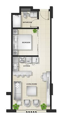Planning of the apartment Studios, 616.67 in Al Mamsha Apartments, Sharjah