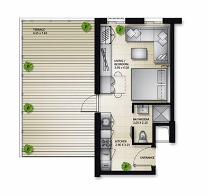 Planning of the apartment Studios, 825.26 in Al Mamsha Apartments, Sharjah