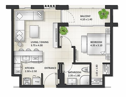 Planning of the apartment 1BR, 775.91 in Al Mamsha Apartments, Sharjah