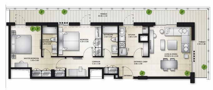 Planning of the apartment 2BR, 1733.85 in Al Mamsha Apartments, Sharjah