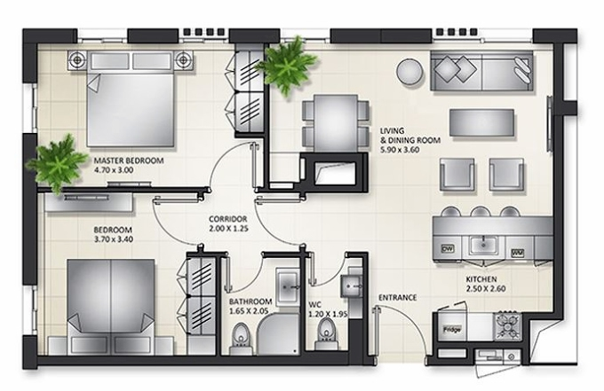 Planning of the apartment 2BR, 1043.56 in Al Mamsha Apartments, Sharjah