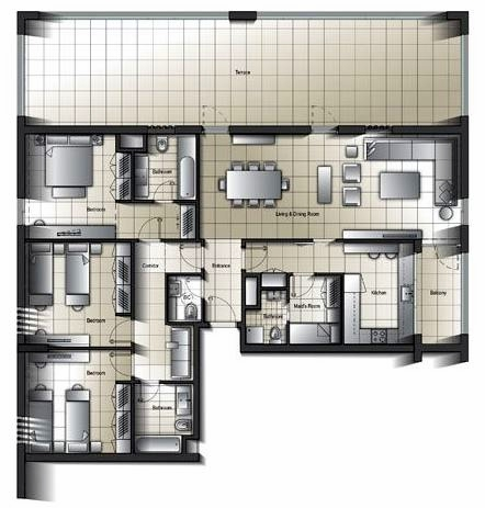 Planning of the apartment 3BR, 2639.63 in Al Mamsha Apartments, Sharjah