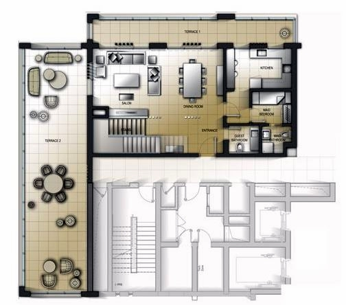 Planning of the apartment 3BR, 2695.71 in Al Mamsha Apartments, Sharjah