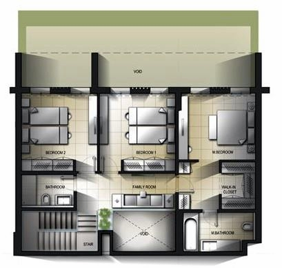 Planning of the apartment 3BR, 2684.41 in Al Mamsha Apartments, Sharjah