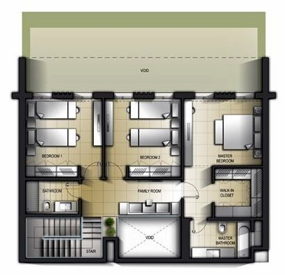 Planning of the apartment 3BR, 2710.99 in Al Mamsha Apartments, Sharjah