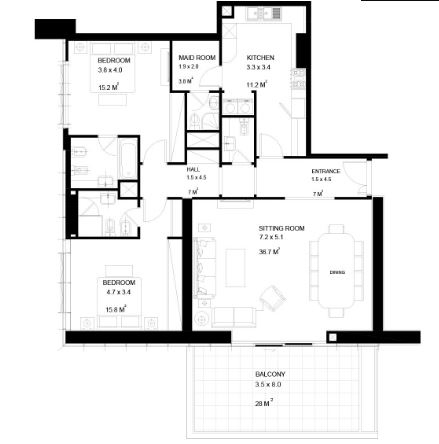Planning of the apartment 2BR, 1722 in Park View Tower Abu Dhabi, Abu Dhabi