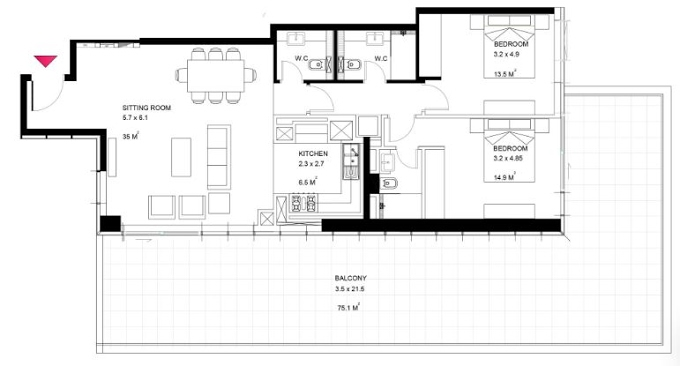 Planning of the apartment 2BR, 1873 in Park View Tower Abu Dhabi, Abu Dhabi