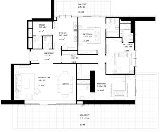 Planning of the apartment 3BR, 3279 in Park View Tower Abu Dhabi, Abu Dhabi