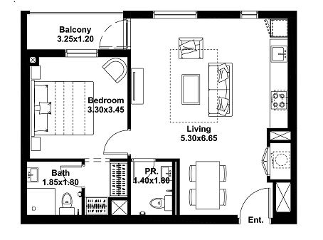 Planning of the apartment 1BR, 658 in Noor, Dubai