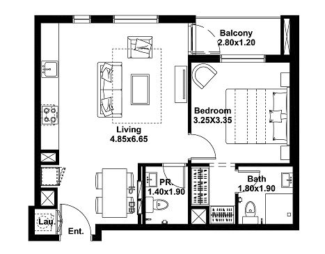 Planning of the apartment 1BR, 621 in Noor, Dubai