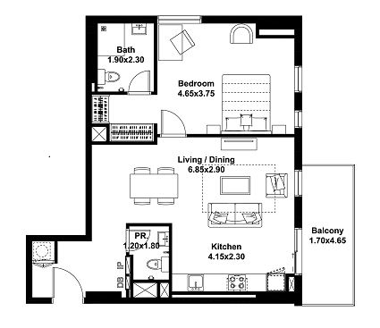 Planning of the apartment 1BR, 832 in Noor, Dubai