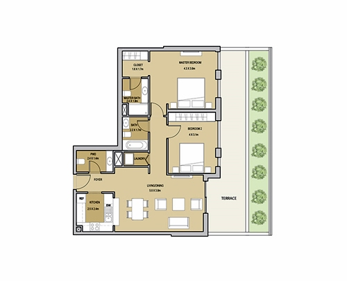 Planning of the apartment 2BR, 1435.47 in Mudon Views, Dubai