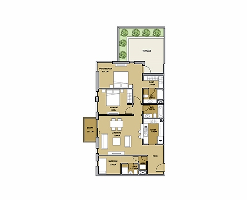 Planning of the apartment 2BR, 1429.01 in Mudon Views, Dubai