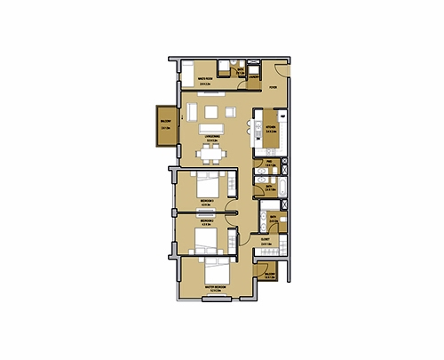 Planning of the apartment 3BR, 1484.55 in Mudon Views, Dubai