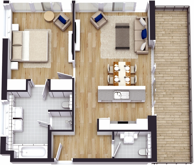 Planning of the apartment 1BR, 999.96 in The 8, Dubai