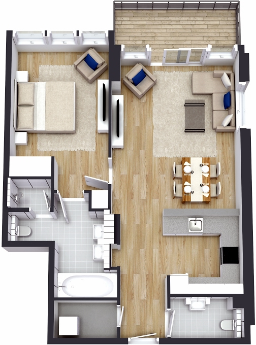 Planning of the apartment 1BR, 908.47 in The 8, Dubai