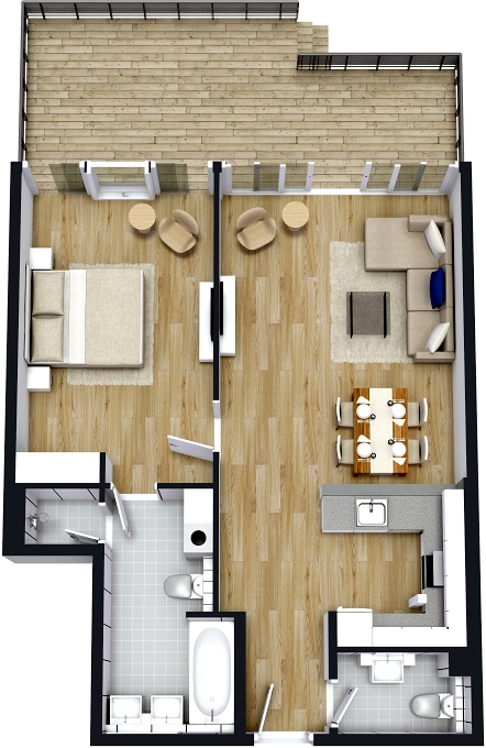 Planning of the apartment 1BR, 1097.92 in The 8, Dubai