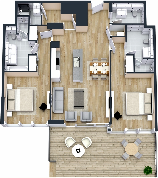 Planning of the apartment 2BR, 1346.56 in The 8, Dubai
