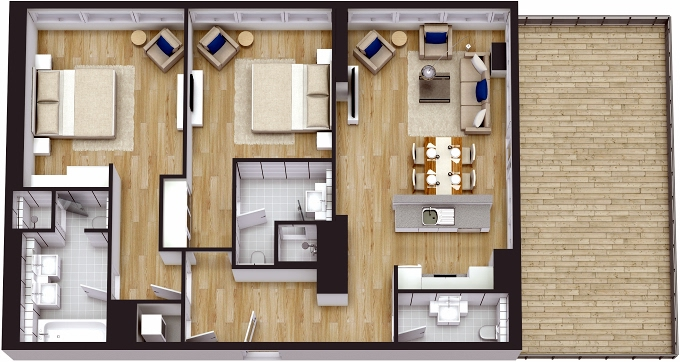 Planning of the apartment 2BR, 1607.05 in The 8, Dubai