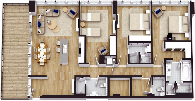 Planning of the apartment 3BR, 2059.13 in The 8, Dubai