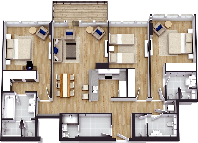 Planning of the apartment 3BR, 1755.59 in The 8, Dubai