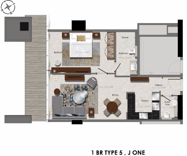 Planning of the apartment 1BR, 484.37 in J One Tower, Dubai