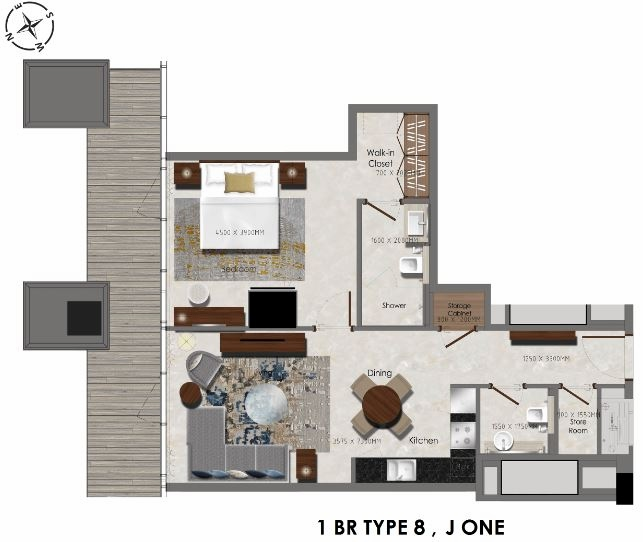 Planning of the apartment 1BR, 484 in J One Tower, Dubai