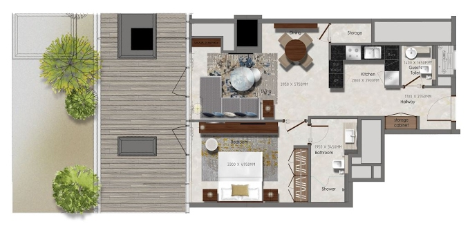 Planning of the apartment 1BR, 395.26 in J One Tower, Dubai