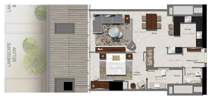Planning of the apartment 1BR, 538.19 in J One Tower, Dubai
