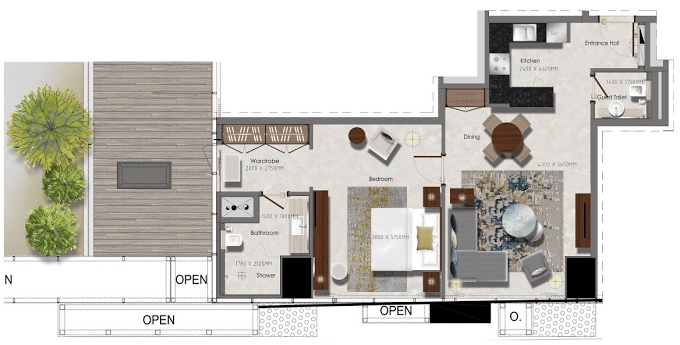 Planning of the apartment 1BR, 548.95 in J One Tower, Dubai
