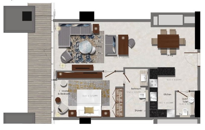 Planning of the apartment 1BR, 581.25 in J One Tower, Dubai
